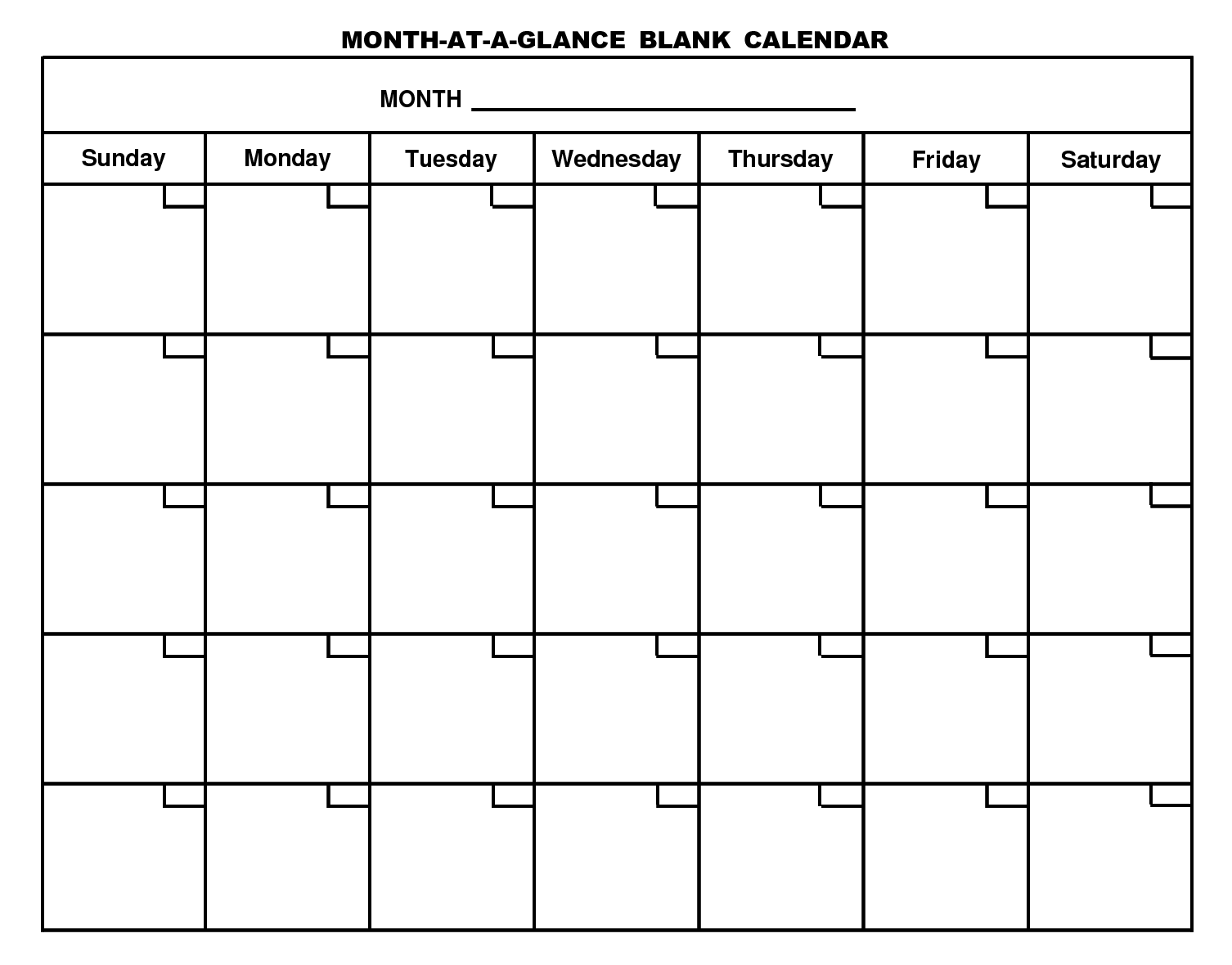 Blank month calendar clipart. Printable monthly template