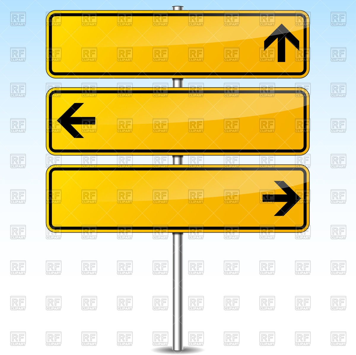 Blank road sign arrow clipart picture library stock Road Sign Template. blue empty road sign template for text on silver ... picture library stock