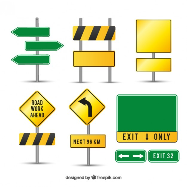 Blank street signs on pole png free clipart vector picture freeuse stock Caution road signs Vector | Free Download picture freeuse stock