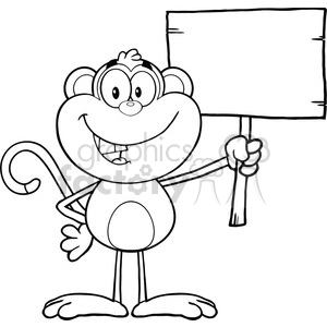 Blank wood sign clipart black and white image transparent stock royalty free rf clipart illustration black and white smiling monkey cartoon  character holding up a blank wood sign vector illustration isolated on ... image transparent stock