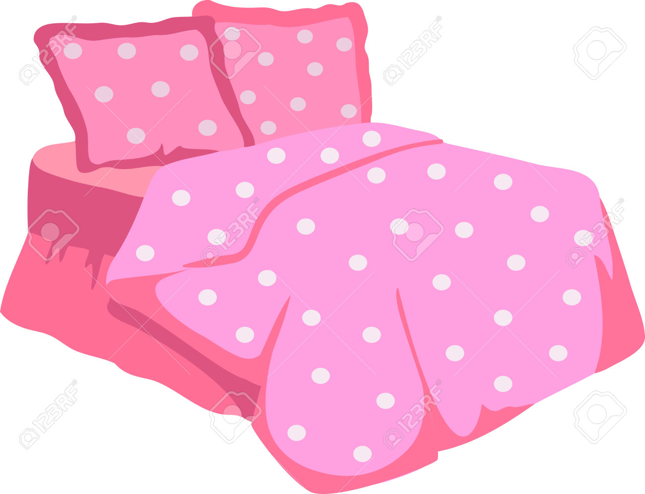 Clipart bed blanket clipart library download Bed With Pink Blanket and pillow » Clipart Station clipart library download