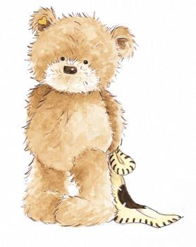 Blanket and stuffed animal clipart jpg freeuse stock Popcorn the Bear with Comfort Blanket - standing, © Bright Start ... jpg freeuse stock
