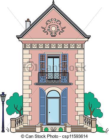 Blaues haus clipart clipart free library Vektor Clip Art von blaues, haus, Fensterläden - 19., Jahrhundert ... clipart free library