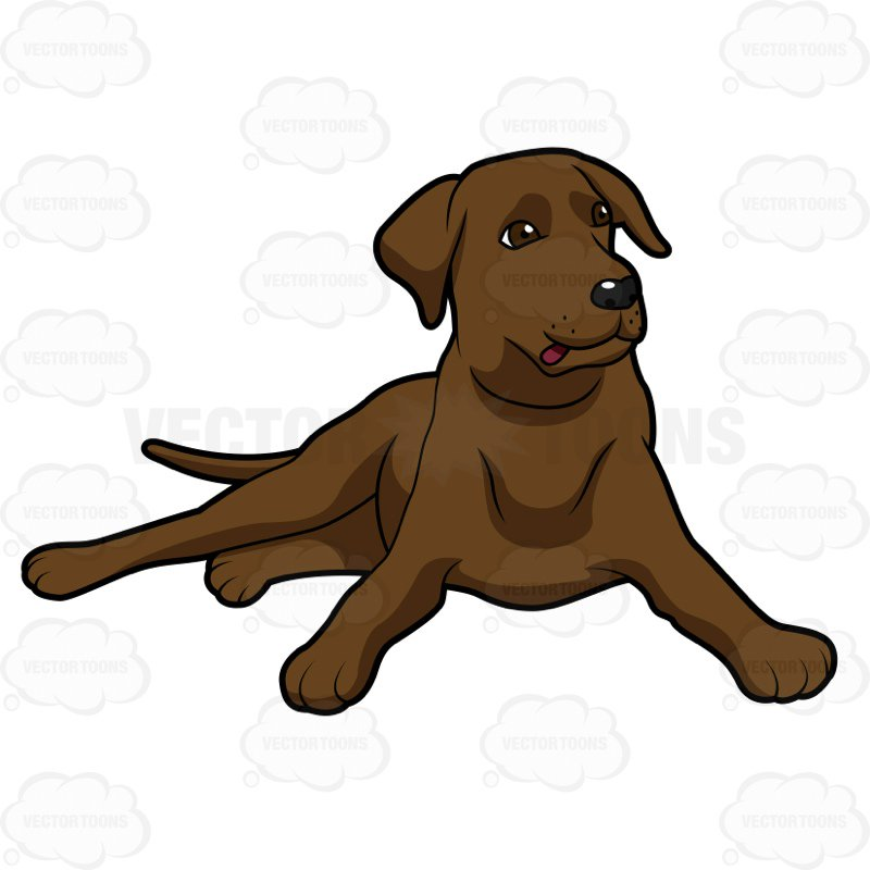 Blbrownck lab clipart png black and white download Cartoon Clipart: Chocolate Brown Labrador Lying Down With - Free Clipart png black and white download