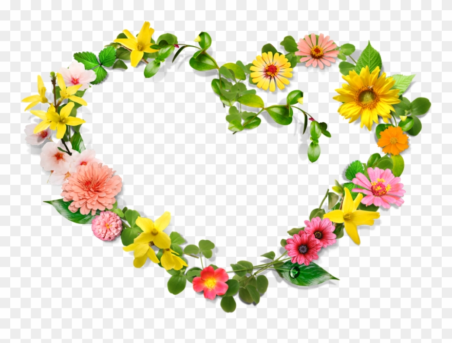Flower and heart wreath clipart