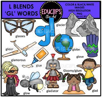 G l clipart vector freeuse stock L Blends GL Words Clip Art Bundle {Educlips Clipart} | Educlips ... vector freeuse stock