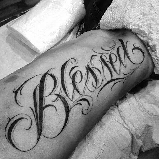 Blessed cursive tattoo clipart black and white clip free download Tattoo designs   Tattoo script lettering   Blessed tattoos, Tattoo ... clip free download