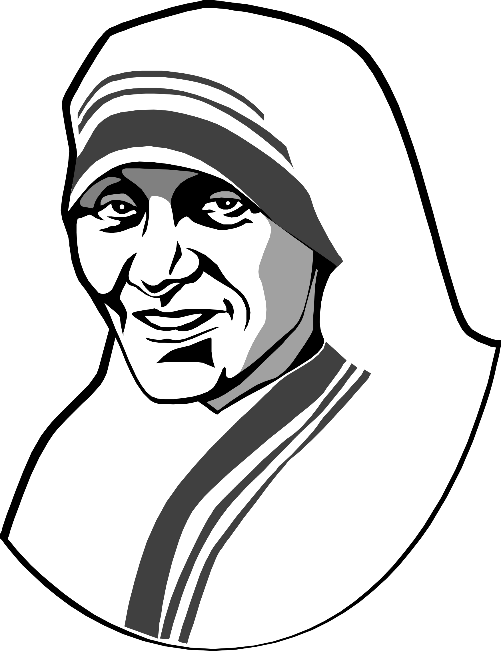 Blessed mother with crown clipart black and white vector black and white download Mother Teresa Drawing at GetDrawings.com | Free for personal use ... vector black and white download