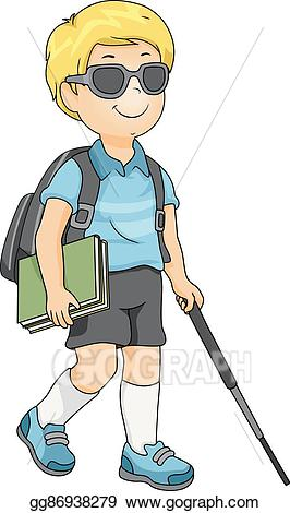 Blind people clipart clip freeuse library Vector Art - Kid blind boy student. Clipart Drawing gg86938279 - GoGraph clip freeuse library