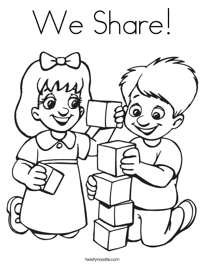 Block center people clipart black and white stock We Share Coloring Page - Twisty Noodle black and white stock