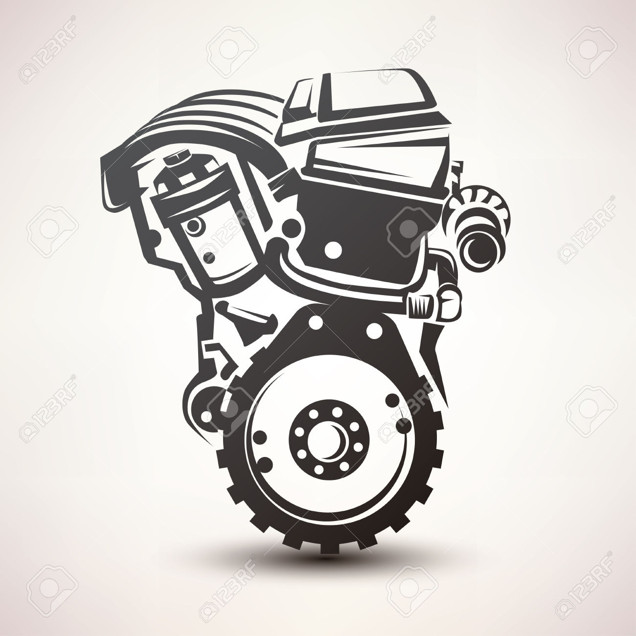 Block clipart motor silhouette.  check engine stock