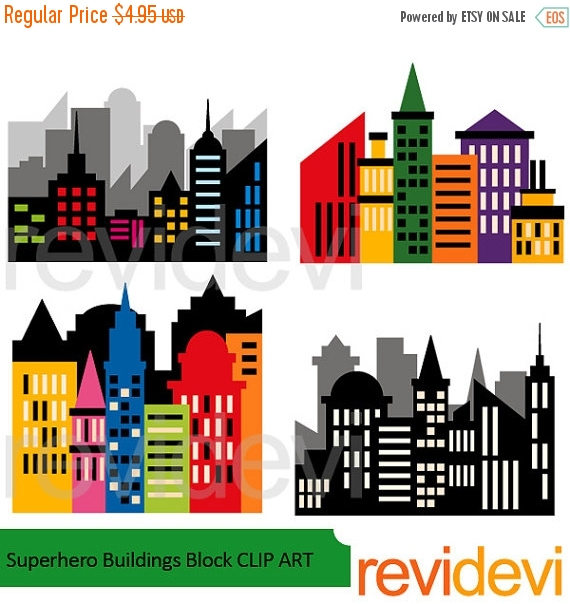 Block number 35 clipart graphic library 35% OFF SALE Superhero clipart CIty buildings block clipart graphic library