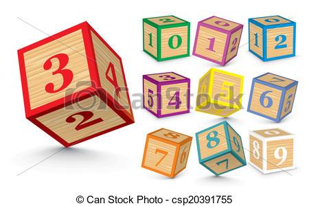Vector of wooden blocks. Block number clipart