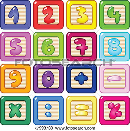 Block number clipart. Of numbers flash cards