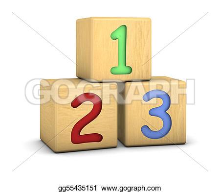 Block number clipart. Stock illustration wood blocks