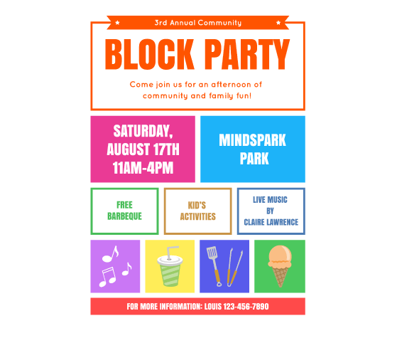Block party flyer images copyright free clipart vector transparent download Download this Block Party Flyer Template and other free printables ... vector transparent download