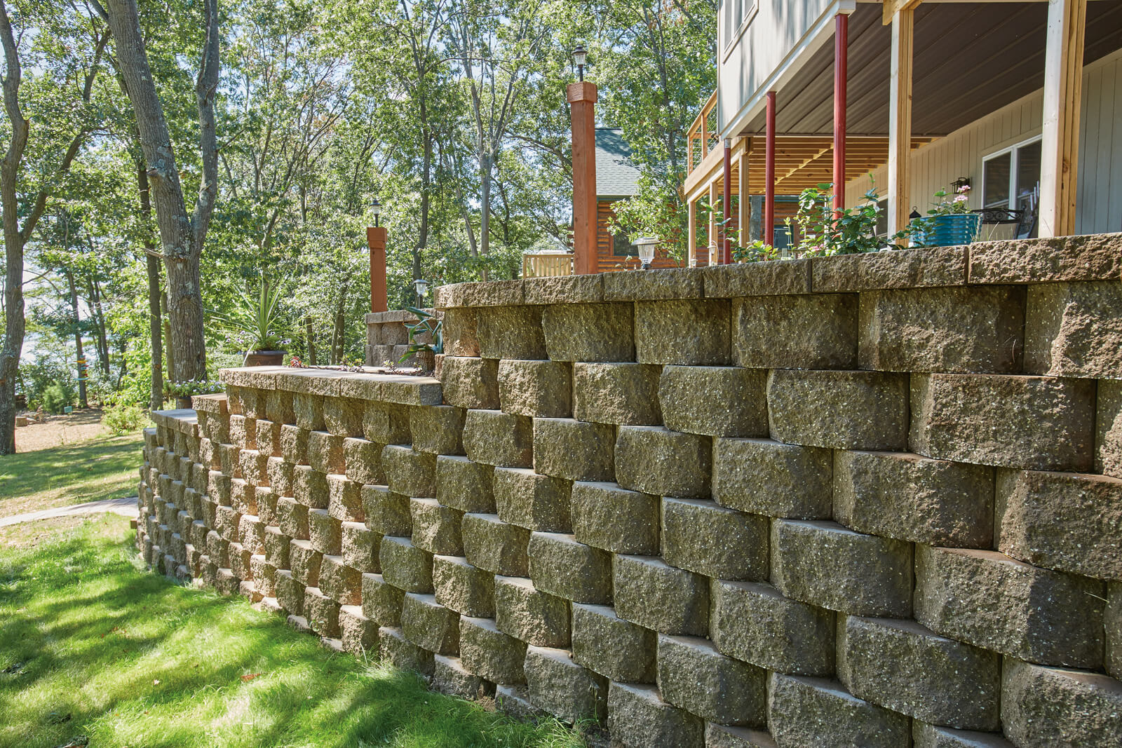 Block retainer wall in the lake clipart image black and white library Terrace Stone® image black and white library