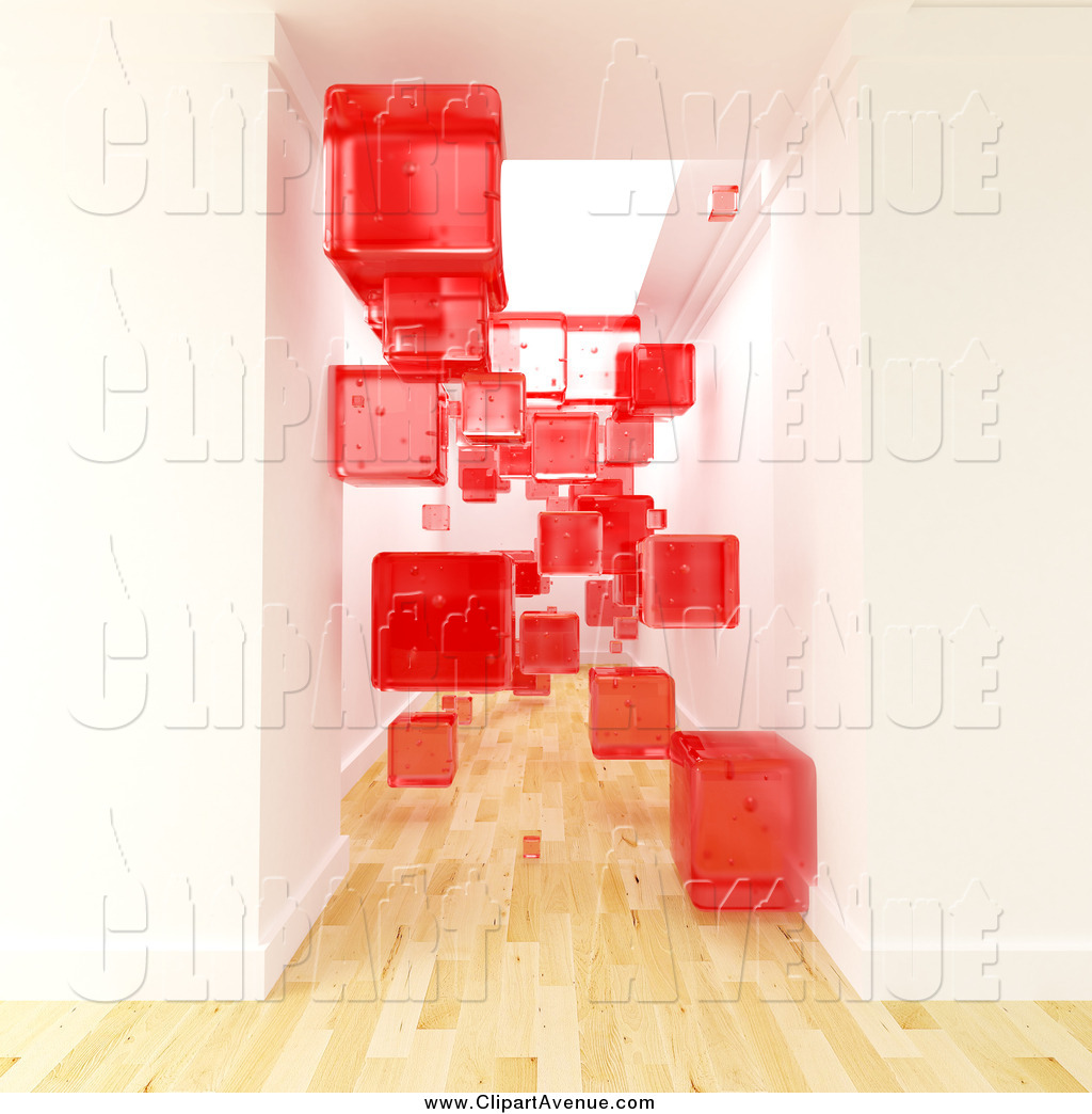 Blocked hallway clipart graphic royalty free stock Avenue Clipart of a Transparent Red 3d Cubes Floating in a Hallway ... graphic royalty free stock