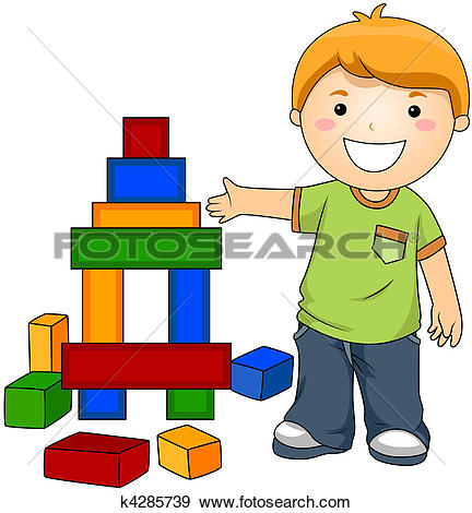 Of boy playing with. Blocks clipart