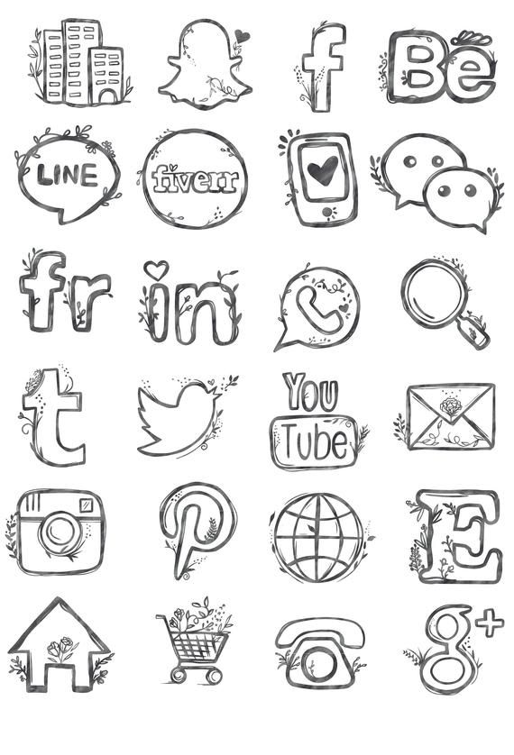 Icon 48 clipart picture free stock 48 hand drawn social media icons watercolor pink blog buttons ... picture free stock
