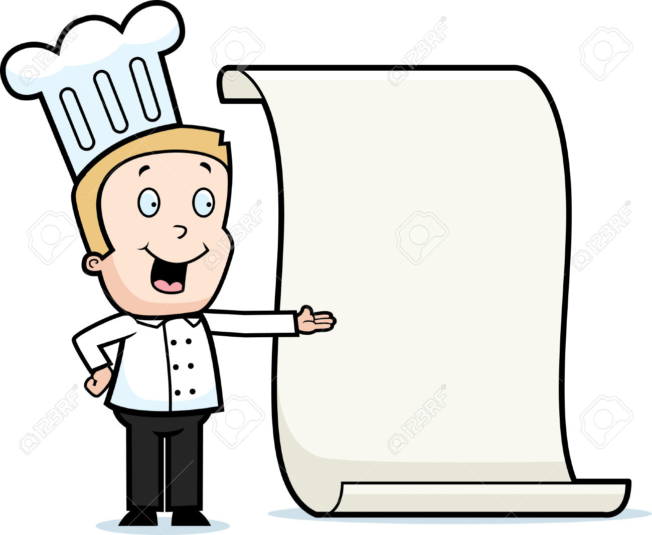 Blonde boy chef clipart clipart stock A Happy Cartoon Boy Chef With A Menu. Royalty Free Cliparts ... clipart stock
