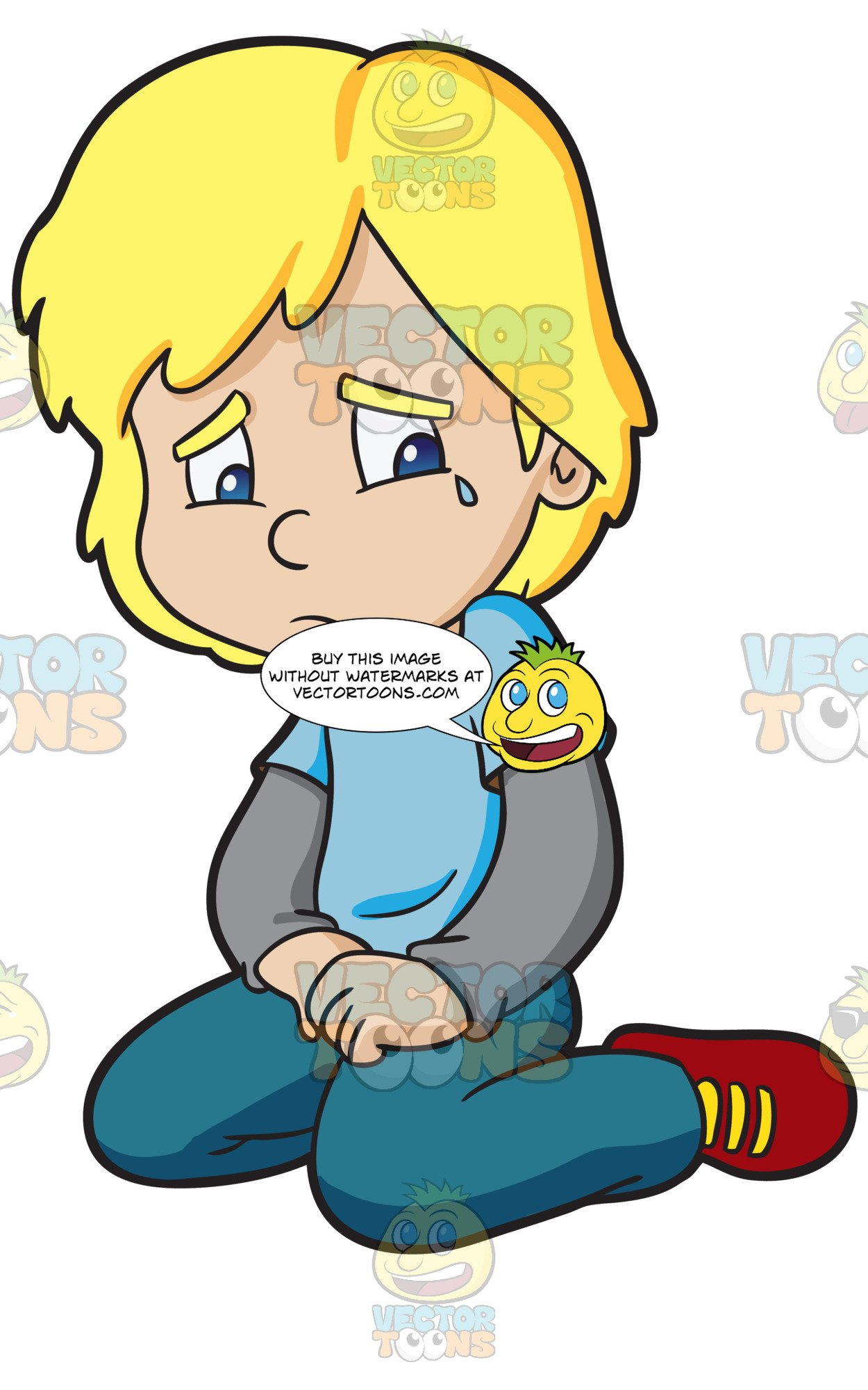 Blonde boy clipart sad vector black and white A Boy Cries In Loneliness vector black and white