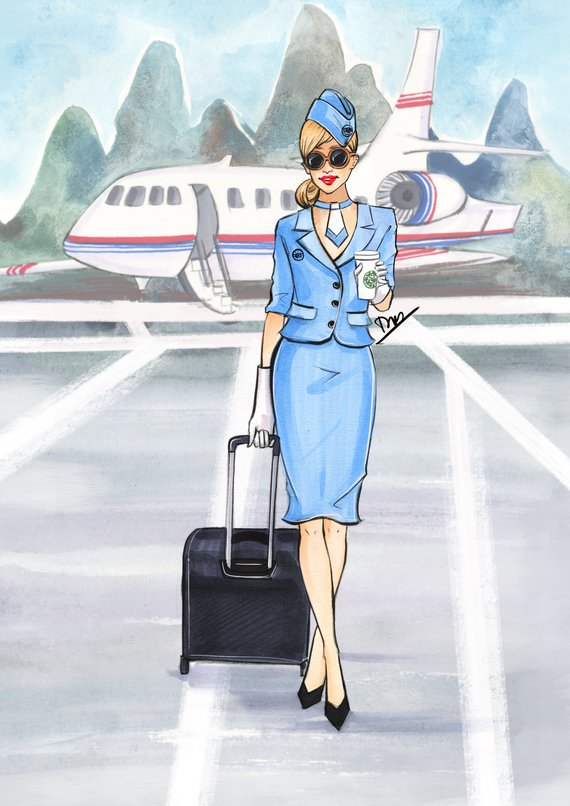 Blonde in first class on an airplane clipart svg black and white Flight Attendant Drawing at PaintingValley.com   Explore collection ... svg black and white