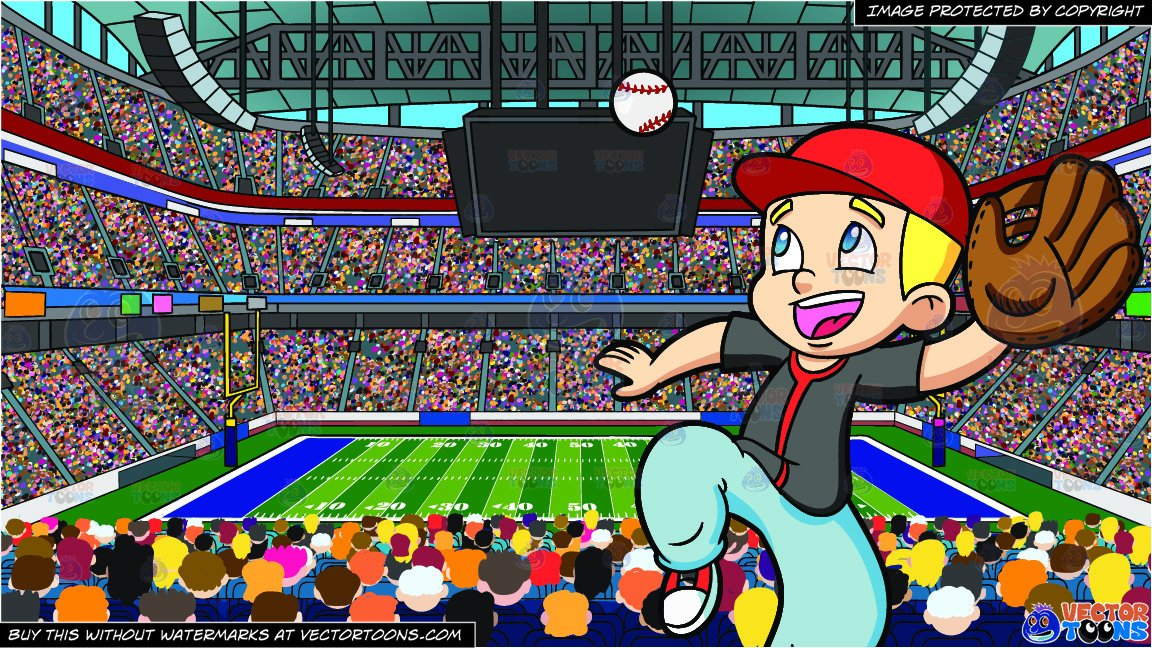 Blonde kid catching a football with one hand clipart png library download A Boy Catching A Baseball and A Football Stadium Background png library download