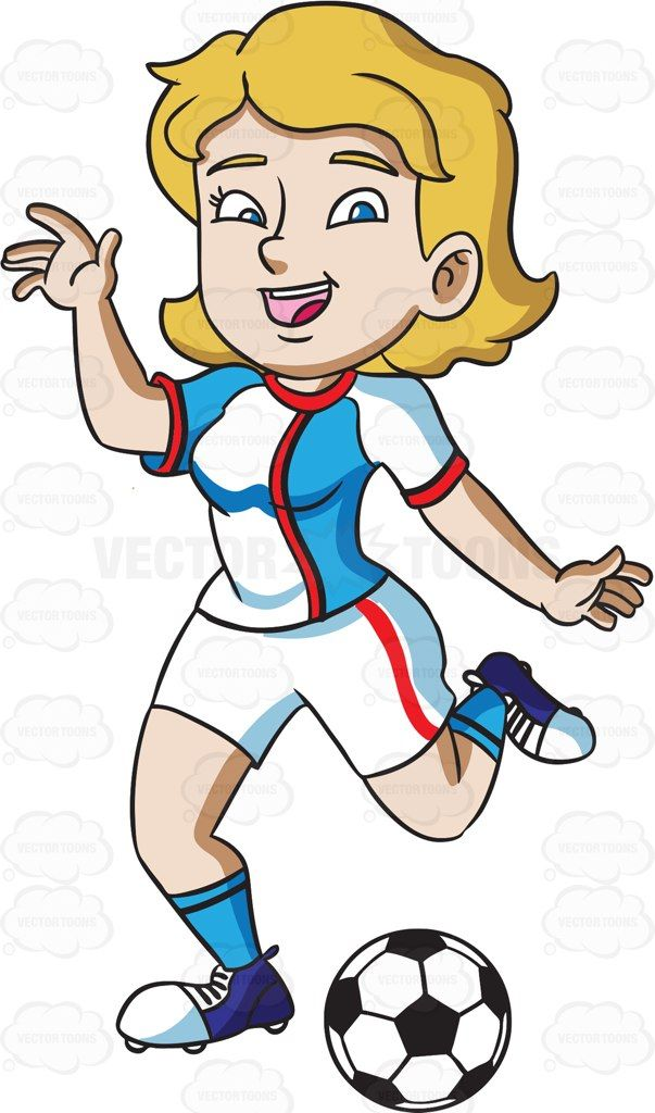 Blonde kid catching a football with one hand clipart svg freeuse stock A happy female athlete kicking a soccer ball #cartoon #clipart ... svg freeuse stock