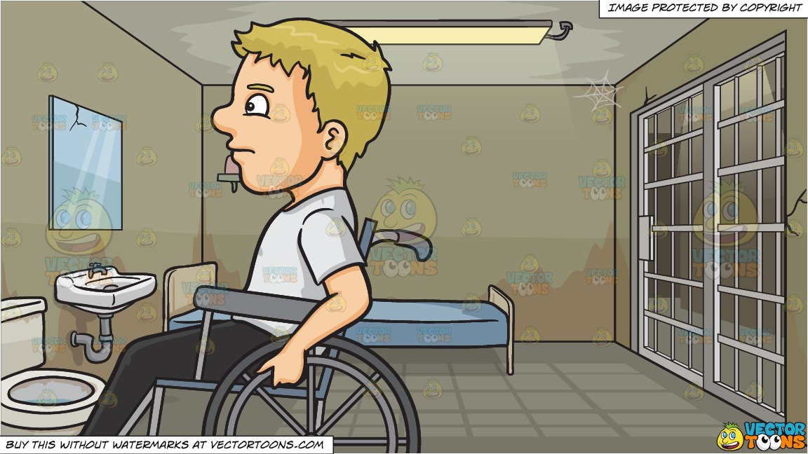 Blonde man sitting in a jail cell clipart clip art library library A Man In A Wheelchair and Inside A Jail Cell Background clip art library library