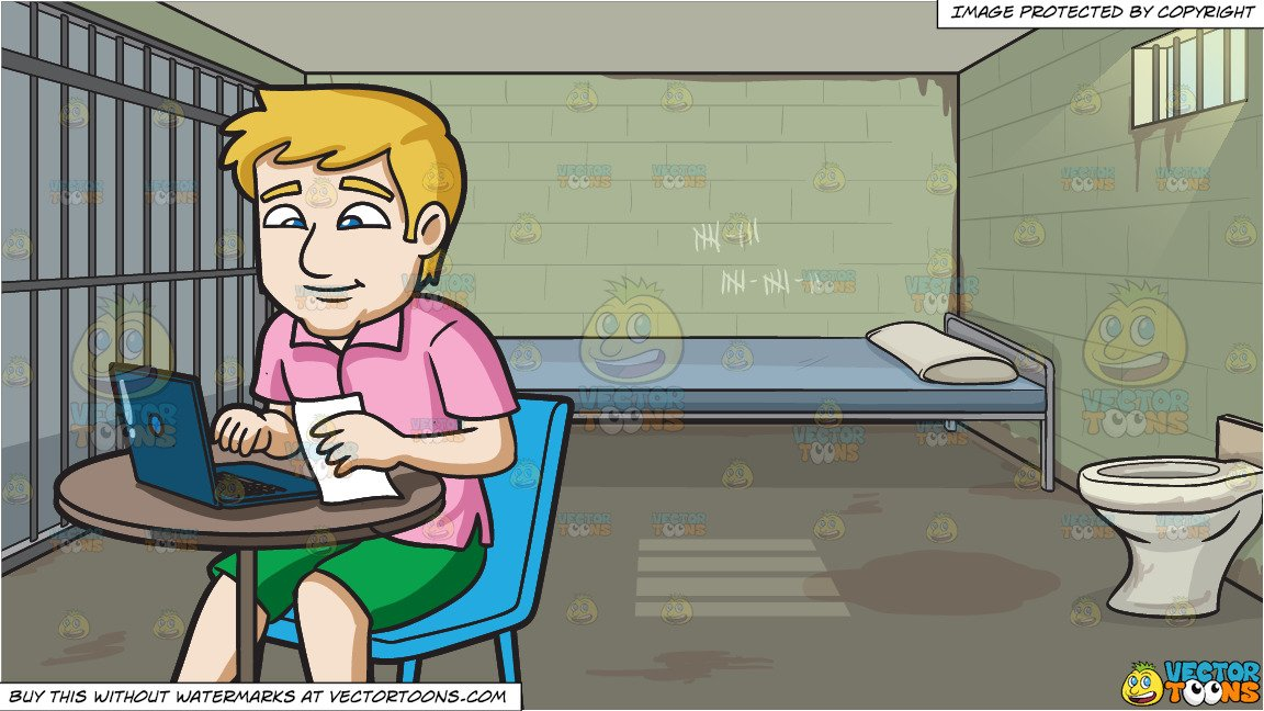 Blonde man sitting in a jail cell clipart clipart black and white download A Man Happily Pays His Bills Using The Internet and Jail Cell Background clipart black and white download