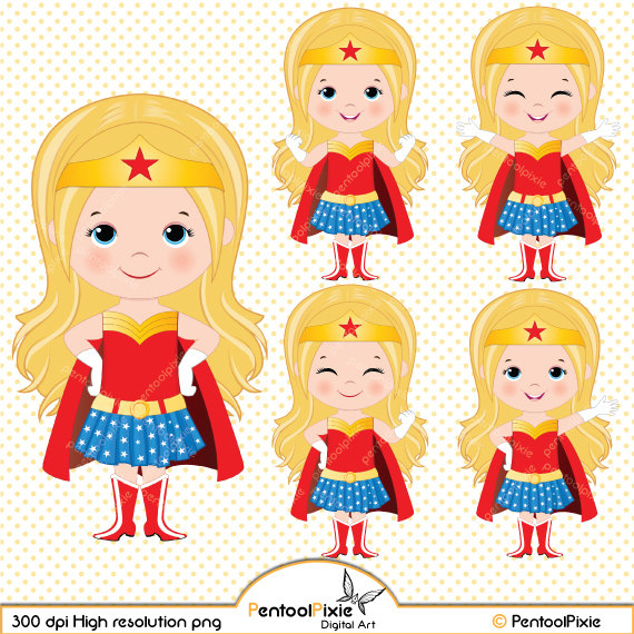 Blonde mother clipart real image black and white library Supergirl clipart | Etsy image black and white library