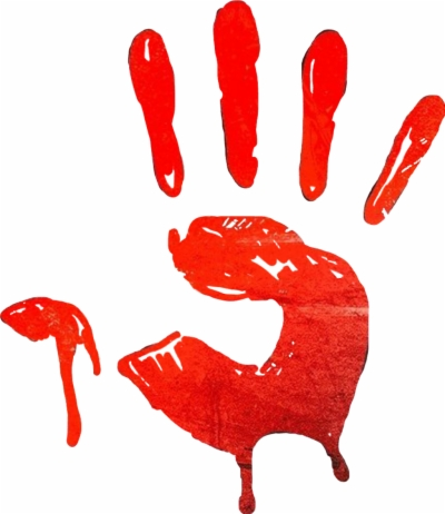 Bloody hand clipart black and white free