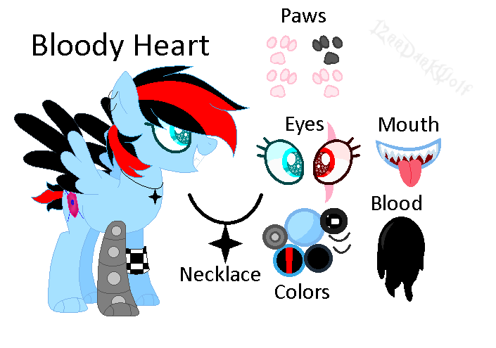 Bloody Heart (Ref Sheet) {Official version pony} by Xx12rrDarkWolfxX ... clipart library stock