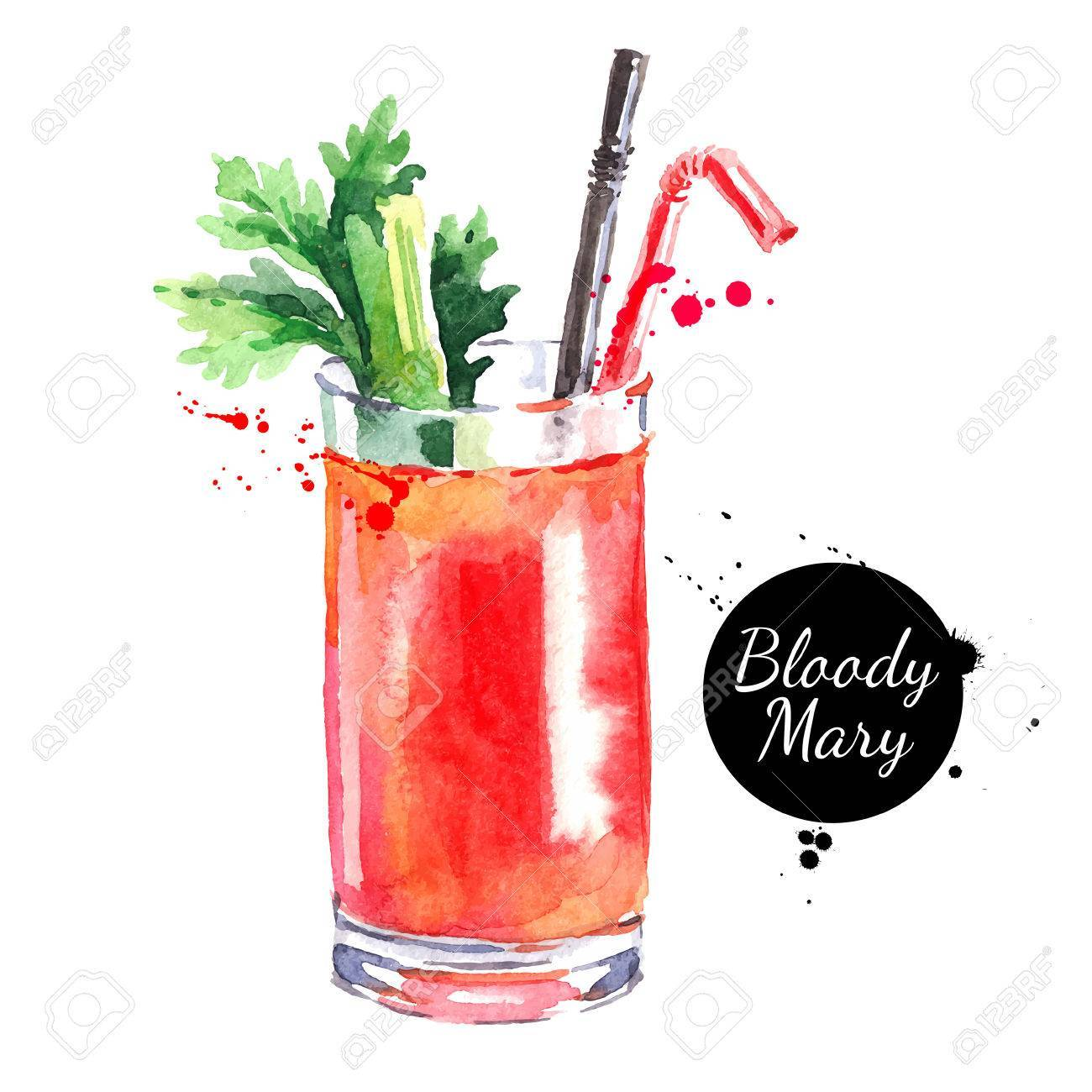Bloody mary clipart picture black and white download Hand drawn sketch watercolor cocktail Bloody Mary. Vector isolat ... picture black and white download