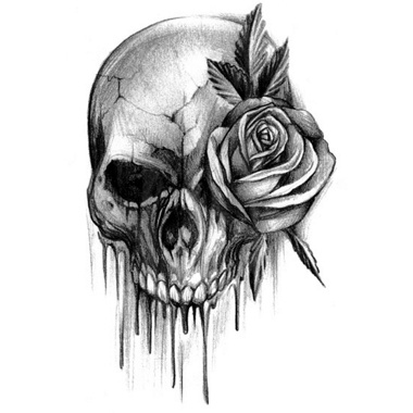 Bloody skull clipart png library Bloody Skull Tattoo With Rose. I Like How Its Black And White ... png library