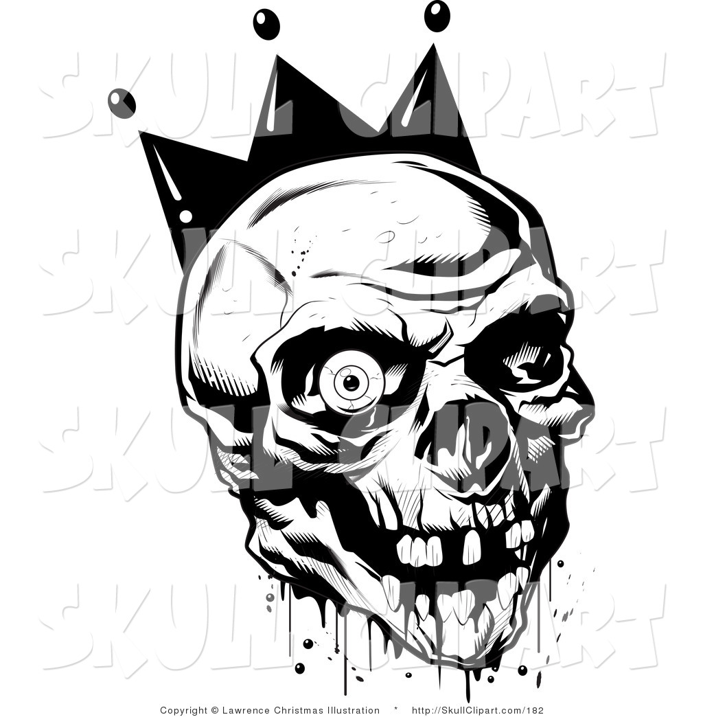 Bloody skull clipart banner free Vector Clip Art of a Black and White Bloody Joker Skull with Missing ... banner free