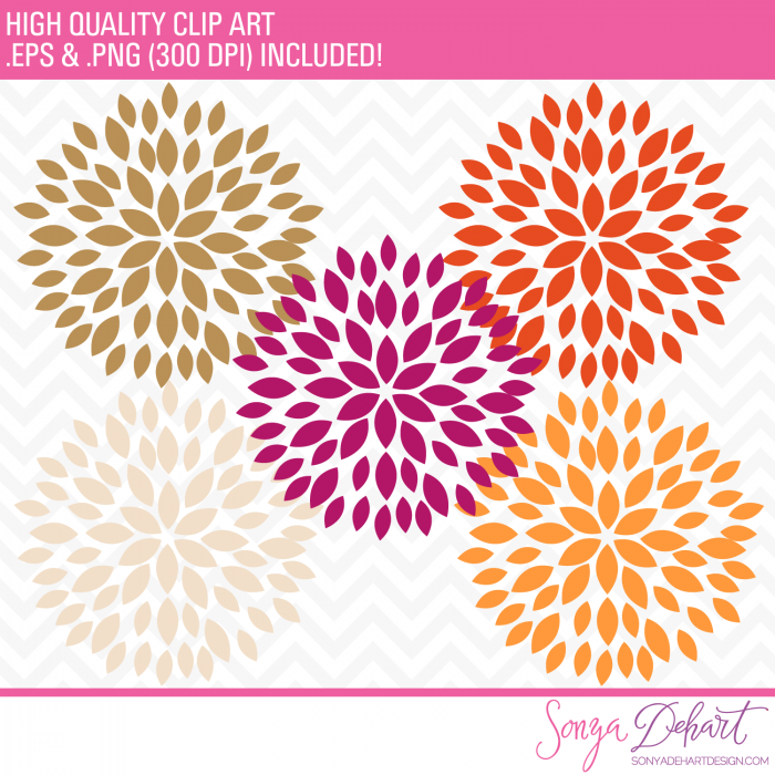Blooming blossom clipart picture Clipart - Blooming Blossom Flowers Clip Art Orange Gold Cream picture