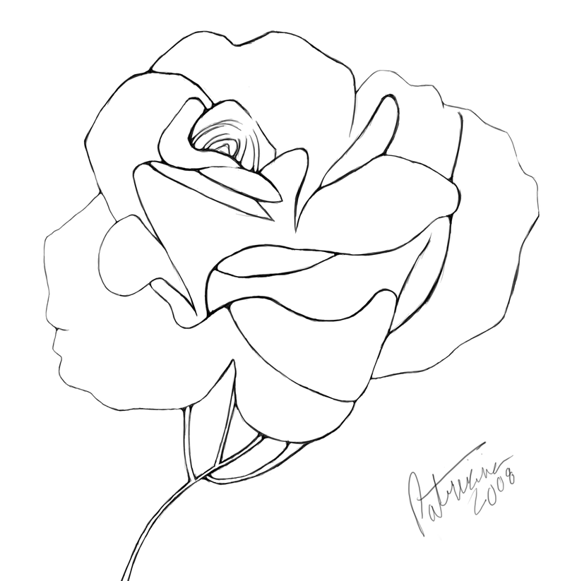 Blooming rose clipart png black and white library Blooming Rose line art by Nisshoku-art on Clipart library - Clip Art ... png black and white library