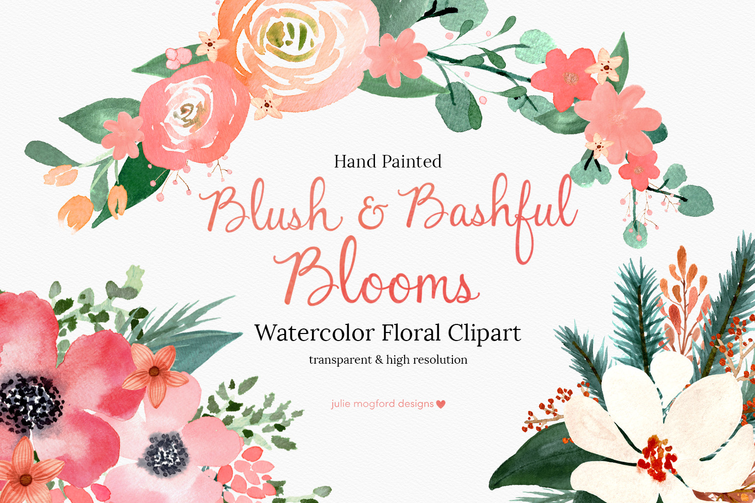 Watercolor floral cliparts picture royalty free library Blush & Bashful Blooms - Watercolor Floral Clipart picture royalty free library