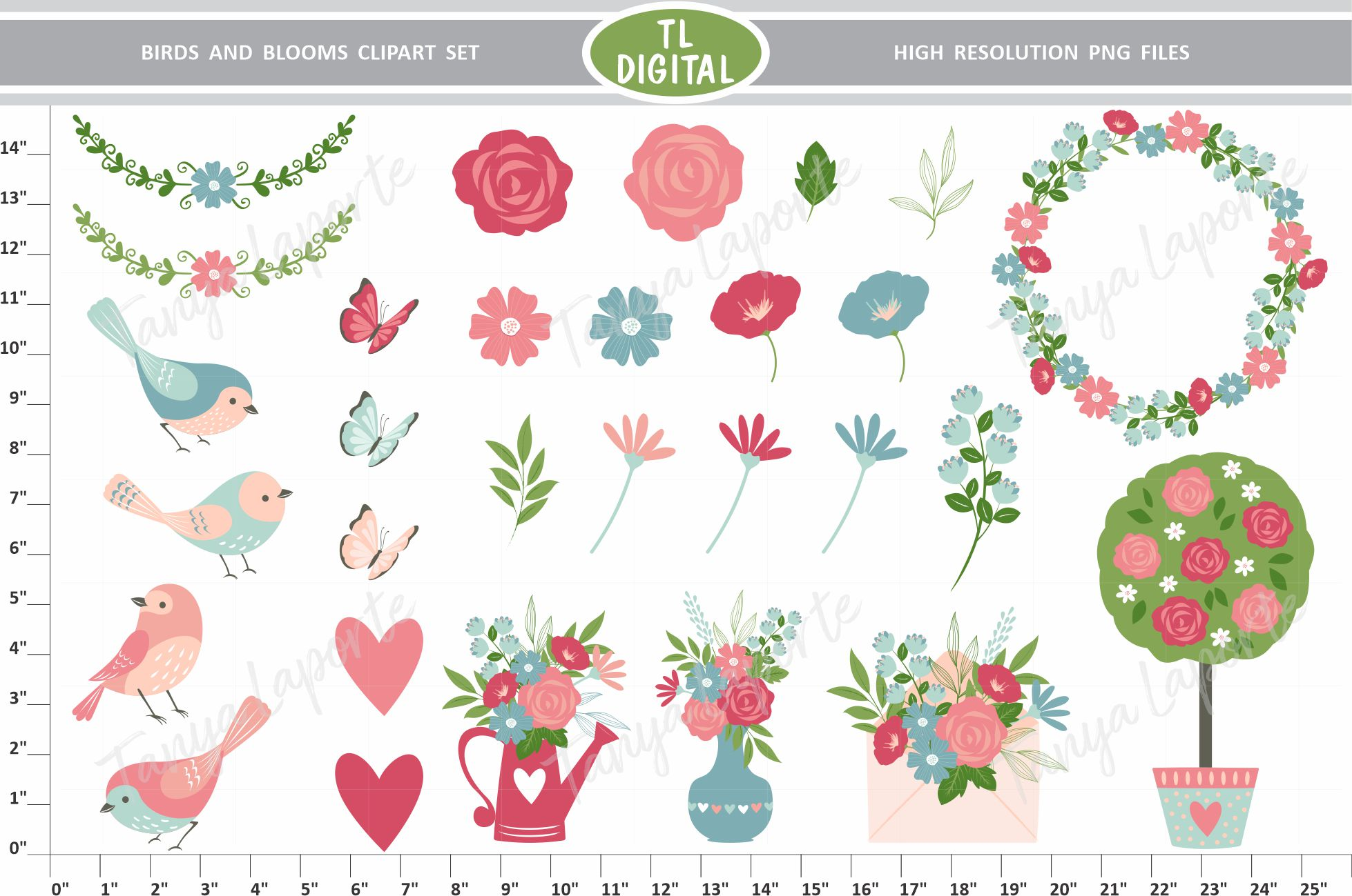 Blooms clipart picture free download Birds and Bloom Clipart Set picture free download