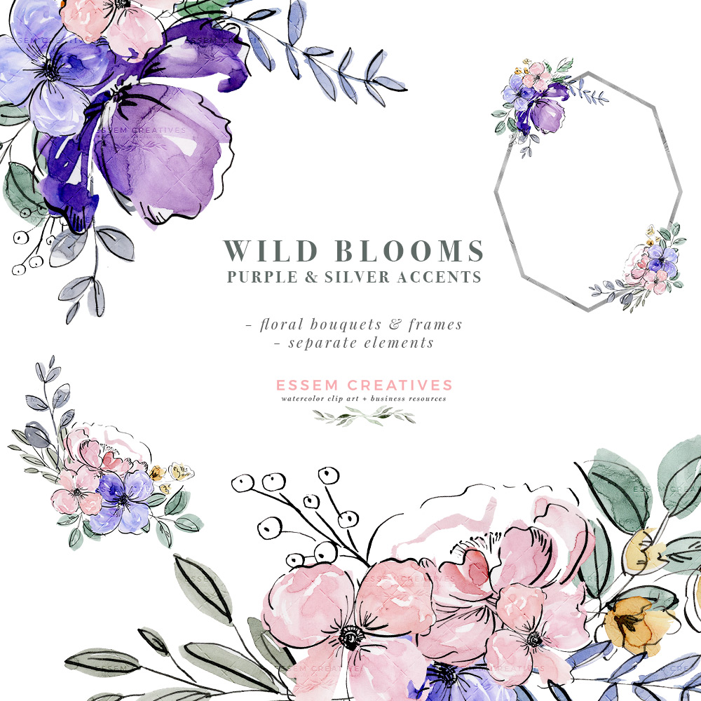 Blooms clipart banner royalty free download Purple Watercolor Flowers Clip Art, Silver Violet Lavender Floral Graphics  Frames Bouquets PNG banner royalty free download