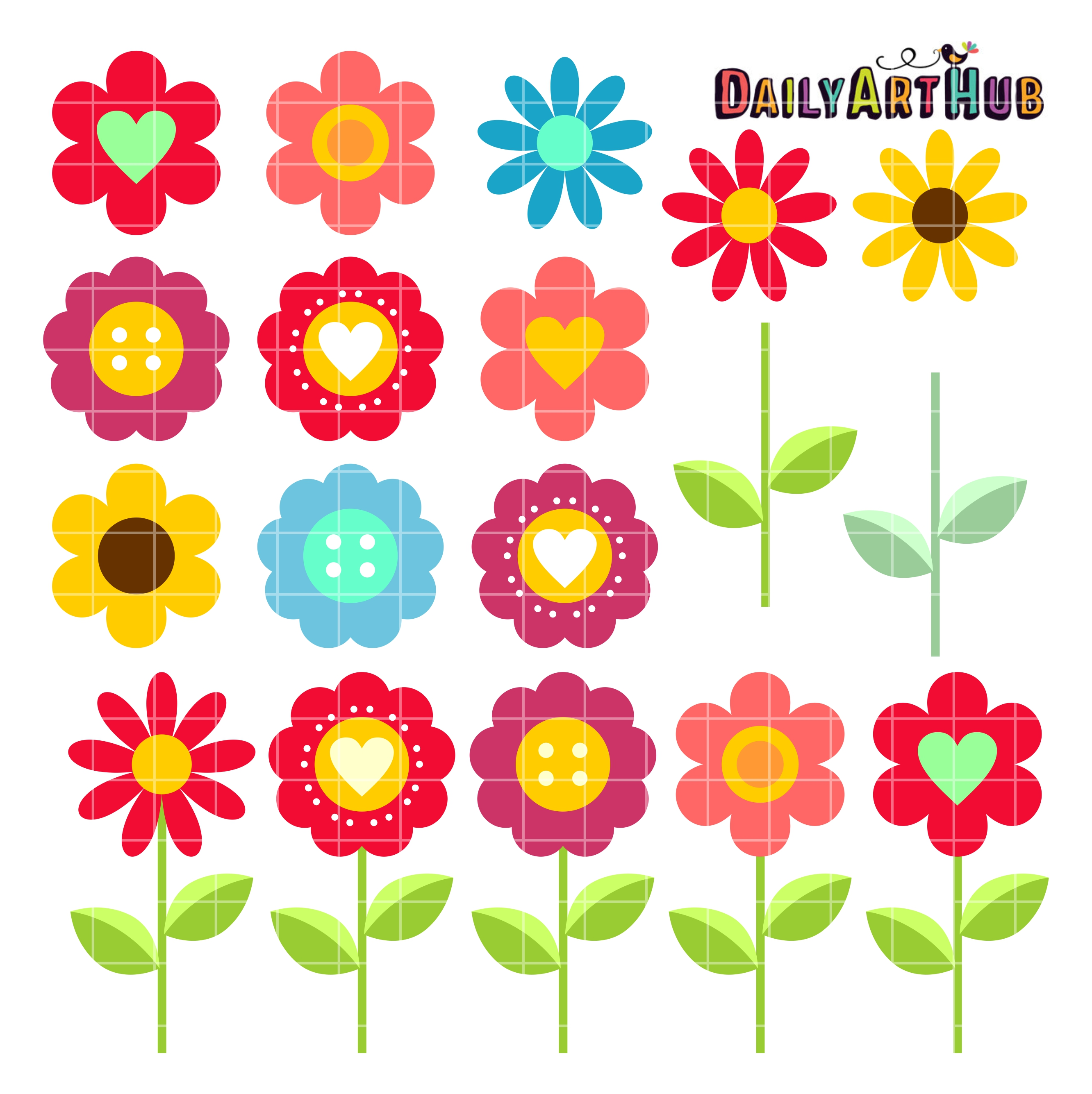 Blooms clipart royalty free stock Flower Blooms Clip Art Set royalty free stock