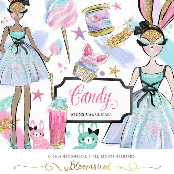 Bloomsical mother-s day clipart jpg Candy Clip Art | Fashion Whimsical Bunny Easter Girl Sweets Glitter ... jpg