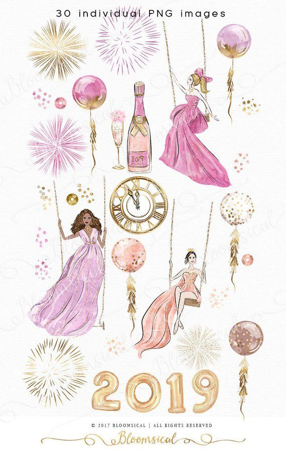Bloomsical mother-s day clipart clip art freeuse stock 2019 New Year\'s Eve Clip Art Fashion Illustration Glam Girl Balloons ... clip art freeuse stock