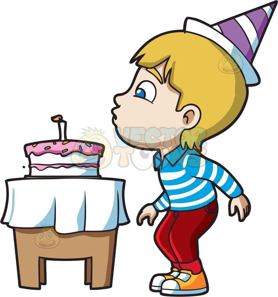 Blow out candles clipart png black and white stock A Boy Blowing His Birthday Candle Cartoon Clipart - Free Clipart png black and white stock
