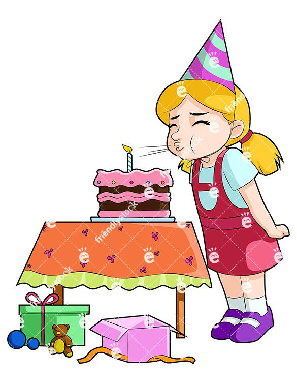 Blow out candles clipart clip library A Little Girl At Her Birthday Party, Blowing Out The Candle On Her ... clip library