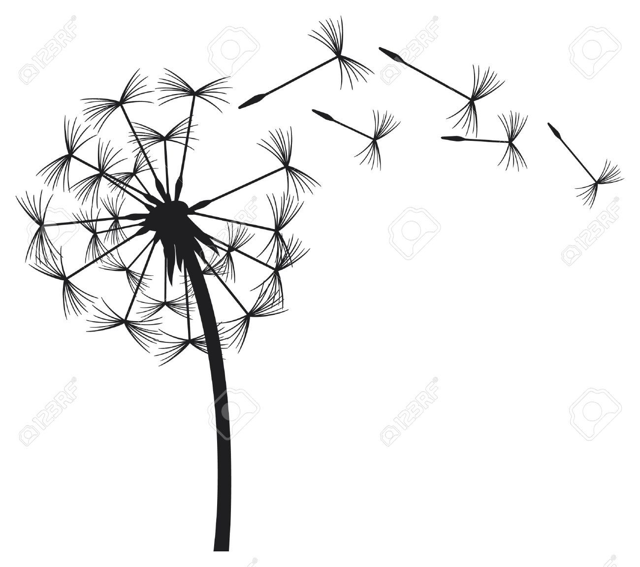Blow pop clipart black and white vector vector library download Blowing Dandelion Stock Vector Illustration And Royalty Free ... vector library download
