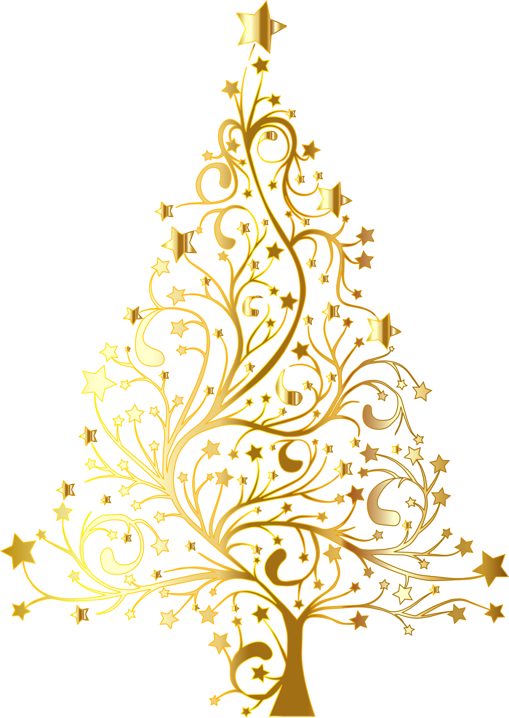 Christmas bunting clipart image library library Starry Christmas Tree Gold No Background by GDJ | Christmas ... image library library