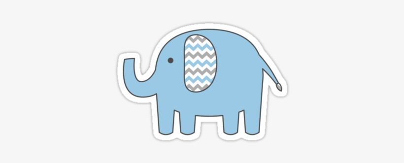 Blue and gray elephant clipart svg transparent download &rsaquo Baby Elephant Sticker With Blue And Gray Chevron - Blue And ... svg transparent download